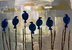 """Birds in Fog, 13"""" x 10"""", 2017."""