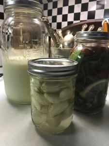 cultured kefir, garlic and mixed veggies